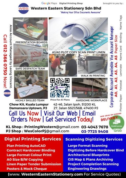 Large Format A1 A0 Digital Printing Services Company in PJ and Kuala Lumpur| WesternEasternStationery.com KL photocopy
