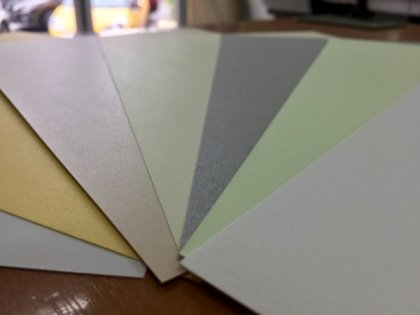 Paper type in Petaling Jaya printing shop at Western Eastern Stationery KL Pearl Card Paper type On Left: 1.Pearl White, 2.Pearl Gold, 3.Pearl Pink (How we call it), 4.Pearl Yellow, 5.Silver Grey. - Textured Card - 6.Apple Green, 7.Abang Artist's favorite fancy card